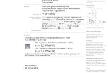 Certificat Rosenheim  glisate cu bariera termica