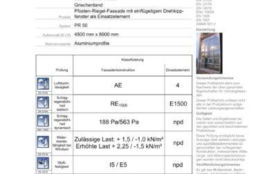 Certificat Rosenheim pentru perete cortina