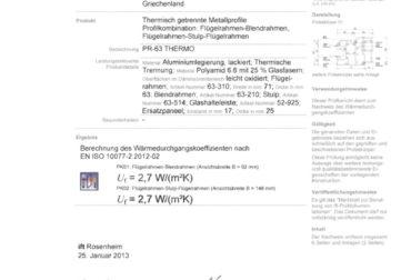 Certificat Rosenheim tamplarie cu bariera termica